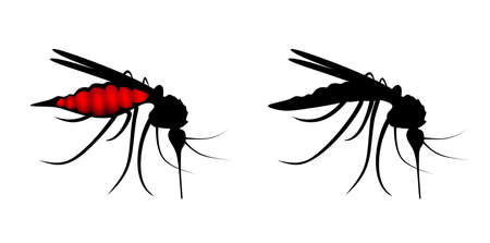 abstract side-view illustration of two stinging mosquitoes illustration