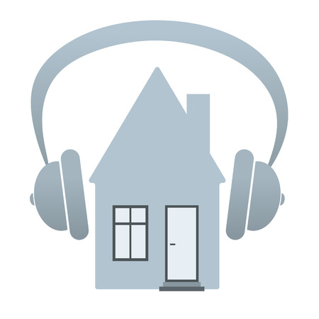 noise isolation: abstract illustration of a house with headphones for noise protection Stock Photo