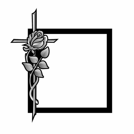 condolence: funeral decoration with black frame, cross and rose Stock Photo