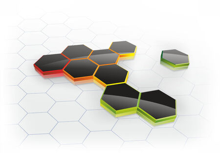 workmanship: abstract illustration of honeycombs on a three-dimensional surface Stock Photo