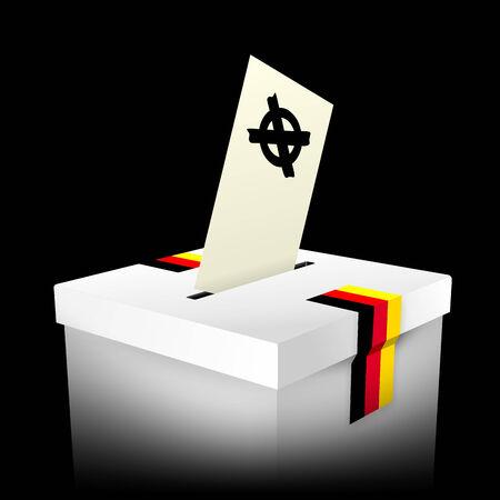 voting box: illustrazione astratta di una casella di voto bianco con i colori della bandiera tedesca Archivio Fotografico