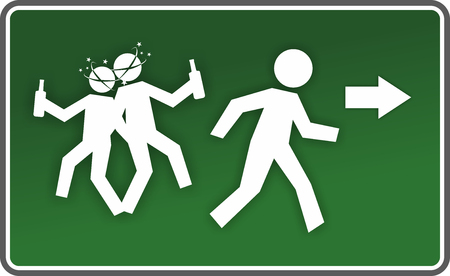 intoxication: illustration of an emergency exit sign with drunk figures