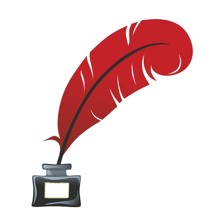 inkpot: illustration of a red feather sticking to an inkwell Illustration