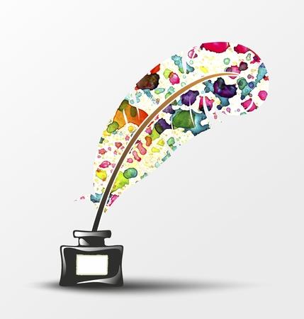 poezie: veer met kleurrijke spuit vasthouden aan een inktpot