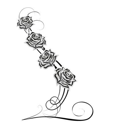バラと装飾された要素を持つ抽象的な装飾