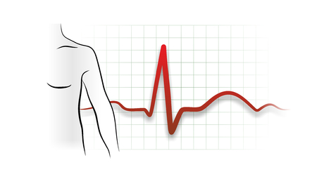 myocardium: abstract illustration of a heartbeat from electrocardiograph