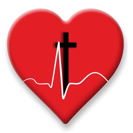 cardioid: s�mbolo del coraz�n con latidos del coraz�n y una cruz Foto de archivo