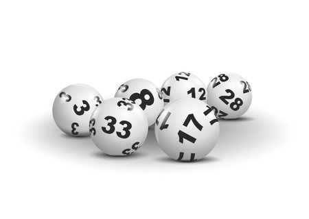 illustration of lottery balls with different numbers Stock Photo