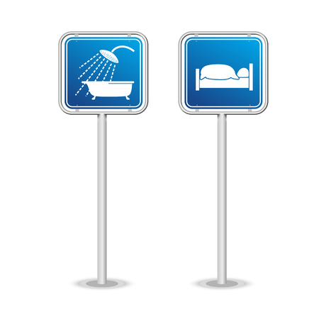 overnight: symbols for travellers with signs for restroom and overnight accommodation