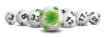 cloverleaf: illustration of lottery balls and ball with cloverleaf