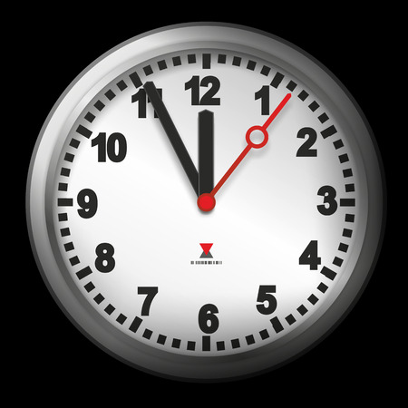 past midnight: modern clock with watch hands indicating five minutes to twelve Stock Photo