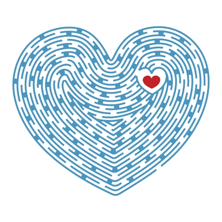 heart shape labyrinth with small heart in center photo