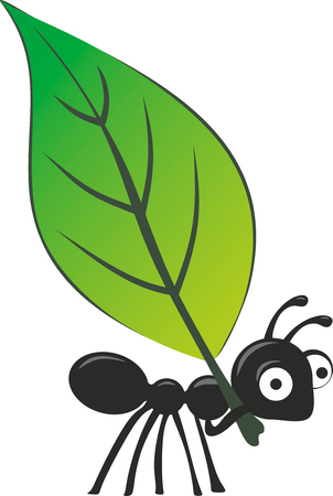 illustrated ant with big eyes carrying a big leaf