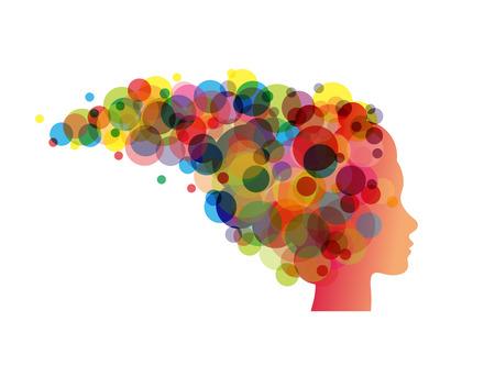 cabeza femenina: cabeza femenina abstracta de la cara con el pelo de colores