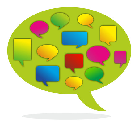 opinions: illustration of a speech bubble combining different opinions