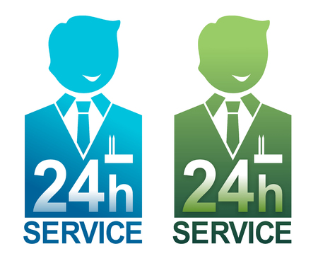 simplified illustration of service staff available around the clock illustration