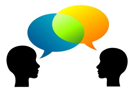 illustratie van twee personen wisselen meningen of gedachten
