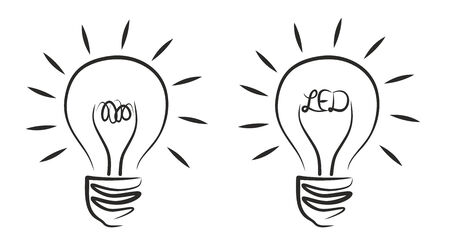 an abstract illustration of different light bulbs