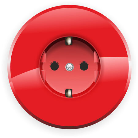 grounded: illustration of a red grounded safety socket