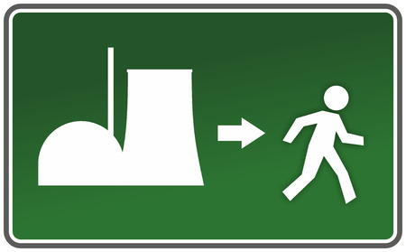 emergency exit sign with figure and nuclear reactor photo