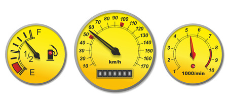 parameter: illustration of different indicators in a car