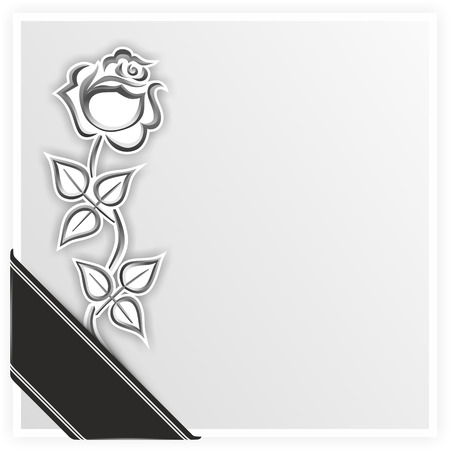 monochrome illustration of a rose with ribbon
