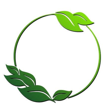 a green circle element with some leaves