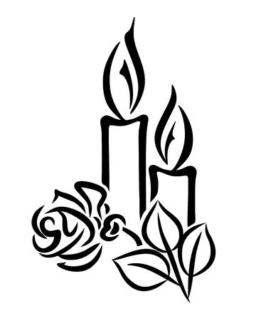 luto: ilustración de dos velas y una rosa