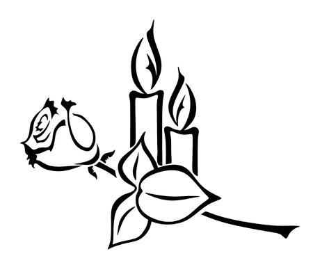 illustratie van twee kaarsen en een roos Stock Illustratie