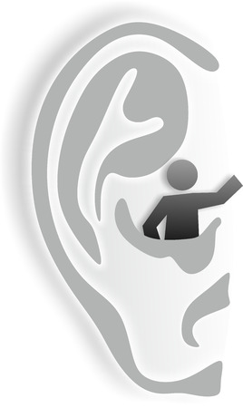 simplified illustration of ear as metaphor for hearing impairment illustration
