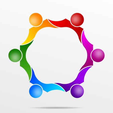 팀웍과 다양성에 대한 상징으로 추상적 인 형태로