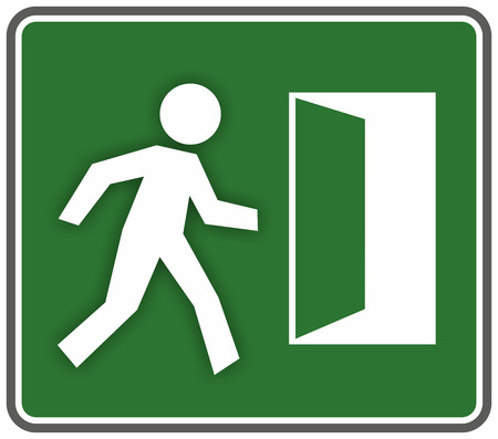 emergency exit sign template with escaping figure