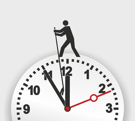 illustration of a figure trying to stop the march of time