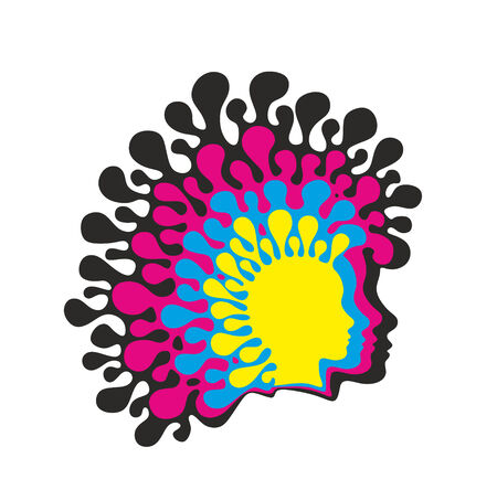 exceptional: abstract silhouette of head with exceptional haircut