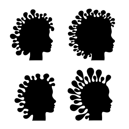 digital printing: abstract silhouette of head with exceptional haircut