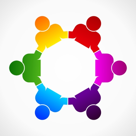 group therapy: abstract form as symbol for teamwork and diversity