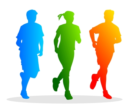 abstract and colorful silhouettes of different runners Vector
