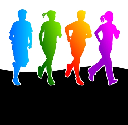 with stamina: abstract and colorful silhouettes of different runners Illustration