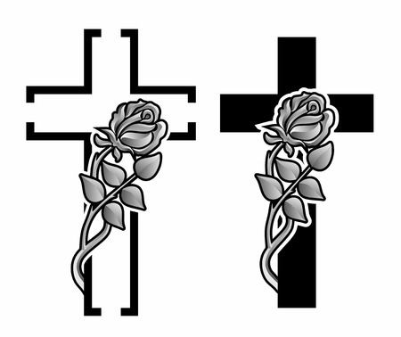 set with two grave crosses with winding rose photo