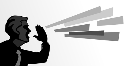 insult: abstract illustration of a man shouting into distance