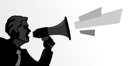 insult: abstract illustration of a man whit megaphone