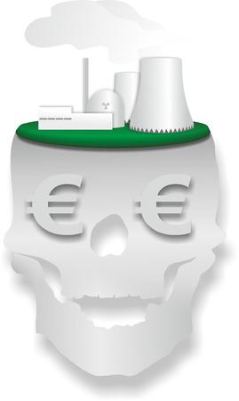 nuke plant: ilustraci�n esquem�tica de la planta de energ�a nuclear con el cr�neo