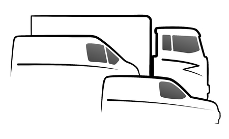 simplified vehicle silhouettes of a truck, van and car