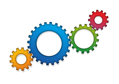 engaging: abstract arrangement of colored engaging gear wheels