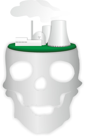 nuke plant: schematic illustration of nuclear power plant with skull Stock Photo