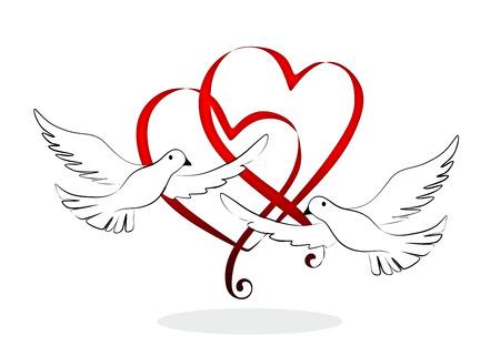 비둘기와 추상 하 고 장식 결혼식 요소