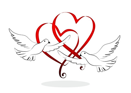svatba: abstraktní a dekorativní prvek s svatební holubice