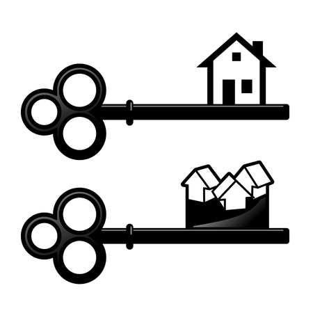 set of two simplified sings with key and house photo