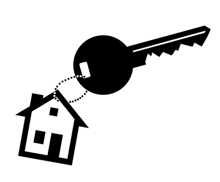 key fob: simplified sign with key and house as key chain