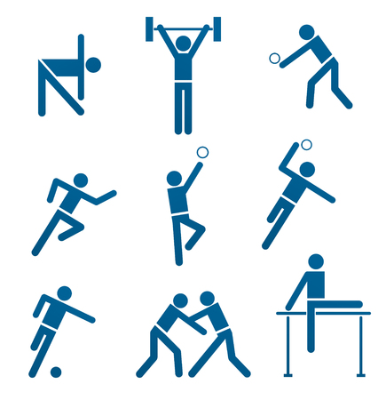 sports activities: set with different signs for sports activities